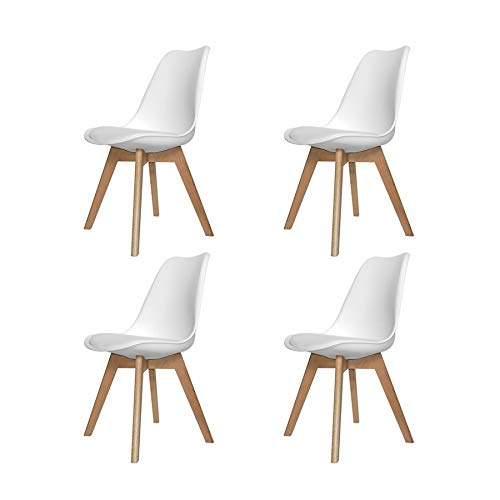Ventamueblesonline Pack 4 SILLAS New Tower Wood Blanca