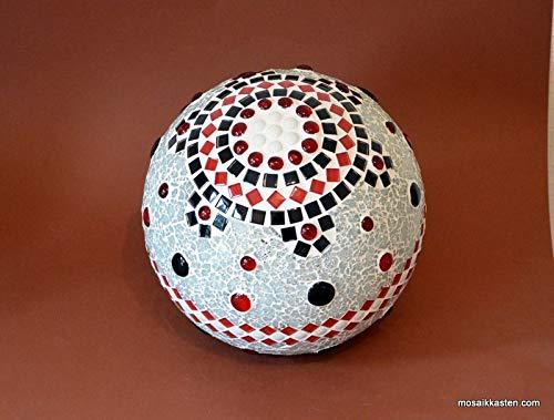 Handgemachte Rosenkugel rot schwarz weiß spiegel 20 cm Durchmesser Nr. 1147