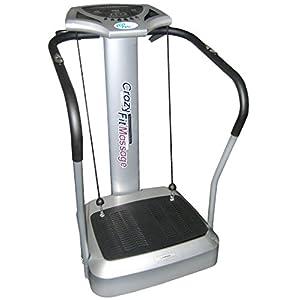 @tec Vibrationsplatte, Vibration Trainings-Gerät für Bauch Beine Po Crazy-FIT-Massage – effektiver Vibrationstrainer – 4 Programme – 2 Fitnessbänder – Steuerpult mit LED Anzeige, Balancetraining