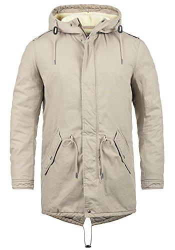 SOLID Darnell Herren Parka lange Winterjacke Mantel mit Teddy-Futter und Kapuze aus 100% Baumwolle Sand (4073)