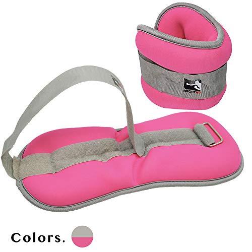 Sporteq, pesi per caviglie o polsi, con allacciatura regolabile, per esercizi e palestra, da donna, pesi: 0,5kg, 1kg, 1,5kg, donna, 2 x 1kg Grey Pink, Taglia unica