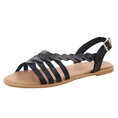 Damen Offene Sandalen Sommer Knöchelriemchen Schuhe Bohemia Plateau Sandaletten Krawatte Sommersandalen (EU:44, Schwarz) -