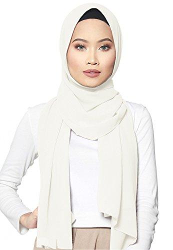 b Kopftuch Halstuch für Damen I Kopfbedeckung 75 x 180 cm I Islamische Muslim Gesichtsschleier, Schal, Haartuch, Pashmina, Turban I Chiffon - Weiß ()