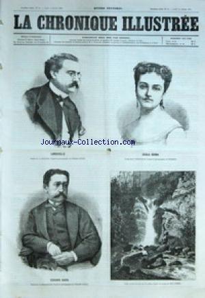 CHRONIQUE ILLUSTREE (LA) [No 94] du 14/10/1869 - LAROCHELLE PAR L. DULONG - EDOUARD CADOL PAR E. PENAUILLE - CECILE GERMA PAR E. PENAUILLE - UNE CASCADE DANS LES PYRENEES PAR EUG. CICERI. LE DR GEORGES FATTET DE L. DULONG - LE SICILIEN - PARIS COMIQUE - LE DROIT DES FEMMES PAR PLOK.