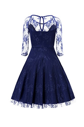 Gigileer Sexy Vintage Damen Floral Spitze 3/4 Arm Swing Kleid Knielang festlich Party Blau S - 2