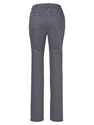 Damen Hose mit grafischem Druckmuster by MIAMODA Marine/Weiß