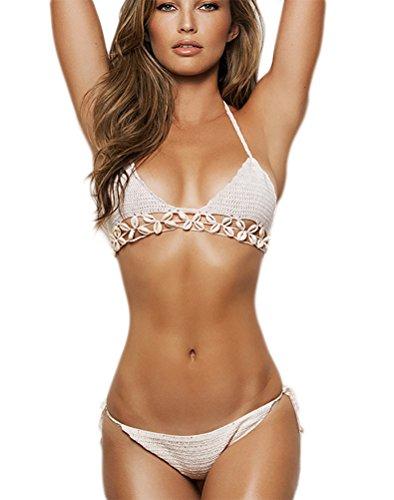 YiLianDa Bikini Sets Damen Strick Häkeln Muschel Push up Bademode Badeanzüge Tauchanzug Hot Bikini Badebekleidung Bathing Suit
