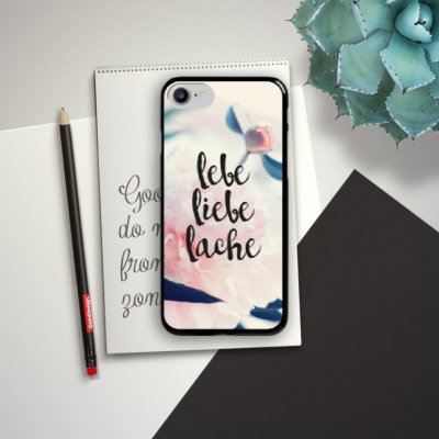 Apple iPhone X Silikon Hülle Case Schutzhülle Love Lebe Liebe Lache Blumen Hard Case schwarz