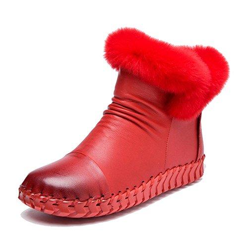 Femelle Fait Main Bottes Coton Doux Semelles Cuir Plus Épais Peluche Talon Plat Chaud Décontractée Paresseux Enceinte Cheville Chaussures