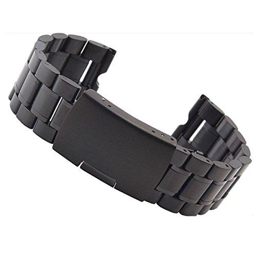 Aohro Acier inoxydable 22mm Bracelet de Montre Rechange Watch Strap Band pour Motorola Moto 360 Smartwatch Remplacement Band avec outil (Smartwatch non inclus) - Solid metal - black