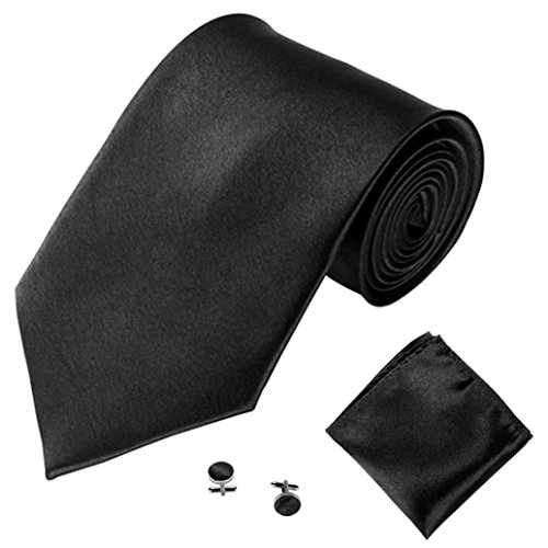 Cravate Homme, Moonuy Hommes à la mode cravate couleur unie tie Désherbage de mariage et cravate quotidienne de partie d'usure Ensemble de cravate de mouchoir de poche ca