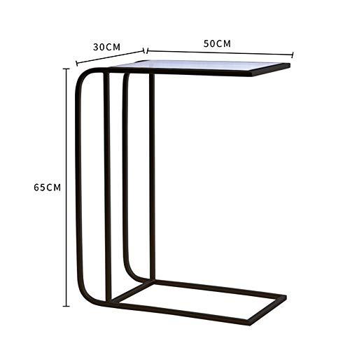 FEI Beistelltisch, C-Form Snack Tisch Gehärtetem Glas Top Sofa Konsolentisch Akzent Tisch Ende Tisch Möbel für Home Office (Farbe : SCHWARZ) -