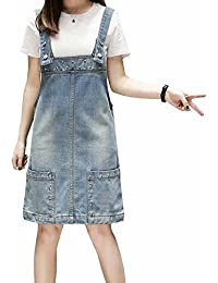 a959ca19b1a Elwow Lady s Plus Size A Line Beaded Vintage Denim Jeans Dungarees Skirt  Dress with Pockets