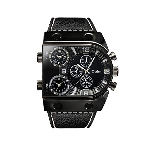 UINGKID Herren Uhr analog Quarz Armbanduhr wasserdicht Uhren Sport DREI Zeitzonen Zifferblatt Design Stilvolle Schwarze Uhr