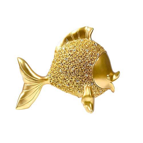 MMJJQWE Kleine Goldfisch Skulptur Dekoration Ornament, 8 Zoll Harz Fisch Figur, für Zuhause Wohnzimmer Zubehör, Haus Dekoration, Badezimmer Dekoration -