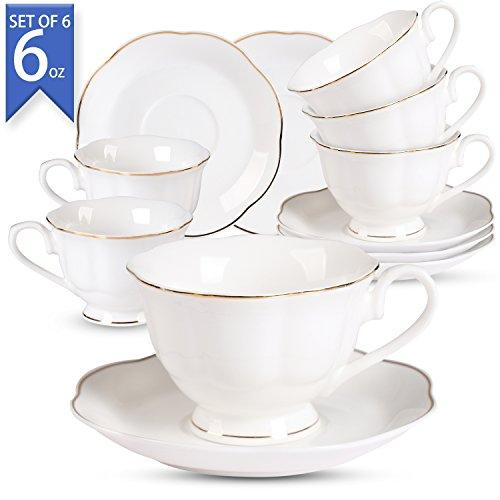 Kaffeeservice Weiß Modern Geschirrset - Kaffeeset Porzellan 6er Set Bestehend aus Tassen und...