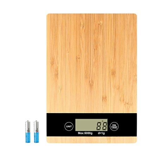 5KG Digitale Küchenwaage Foraco Elektronische Bambus Küchen Waage mit Tara-Funktion, Großem LCD-Display, Hohe Präzision bis zu 1G / 5kg Maximalgewicht / Inkl. 2 Batterien Digitale Bild-anzeige