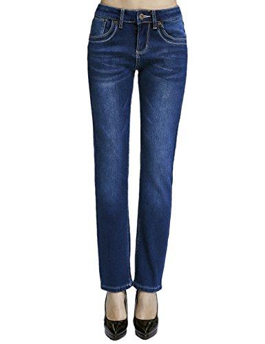 Camii Mia Jeans en Polaire Femme Slim Fit Denim Taille Basse Bleu (nouvelle taille)