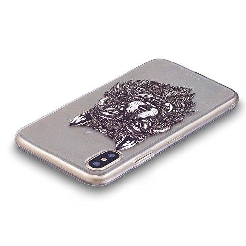 Slynmax Colorato Stampato Cover per iPhone X Custodia Silicone Caso Molle di Morbida Sottile TPU Gel Transparent Bumper Case Protettiva Caso Chiaro Copertura Slim Thin Skin Shell Protezione per iPhone Modello #17