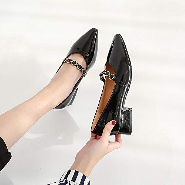 WFL Chaussures Femmes Pointues de Femmes Rugueux Sauvage Chaussures de Pointues Grand-mère rétro été Britannique Simple Plat - B07G9X5QBF - b06ae5