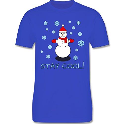 Weihnachten - Stay Cool! - Schneemann - Snowman - Winter - L190 - Premium Männer Herren T-Shirt mit Rundhalsausschnitt Royalblau
