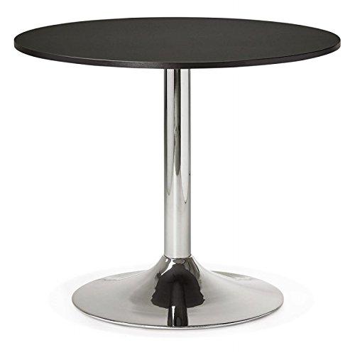 MK Table de Repas ou Bureau Ronde Design NILS en Bois et métal chromé (Ø 90 cm) (Noir)