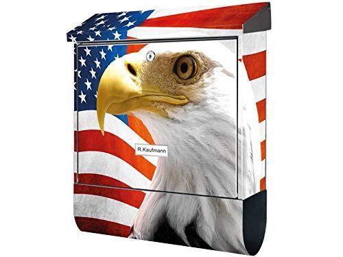 KlebeSpatz® Motiv Wand Briefkasten Premium mit Zeitungsfach Zeitungsrolle für C4 american Eagle Flag