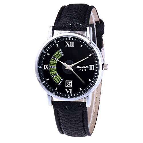 Herren Damen Analog Uhr Minimalismus Dünn Elegant Luxusuhr Lederarmband Schwarz