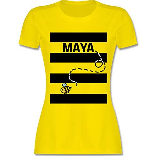 Karneval & Fasching - Bienen Kostüm Maja - M - Lemon Gelb - L191 - Damen T-Shirt Rundhals