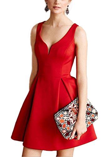 Arkind Robe Femme Dress été Sexy Col-V Rouge Bleu Noir Jaune Jupe Plissée Rouge