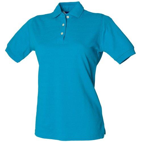 Henbury Ladies Cotton Shirt, Polo Femme Turquoise