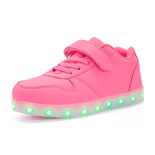 Voovix Unisex-Kinder Licht Schuhe mit Fernbedienung Led Leuchtende Blinkende Low-top Sneaker USB Aufladen Shoes für Mädchen und Jungen(Rosa,EU31/CN31) -