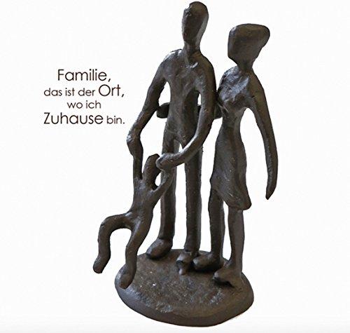 CMD Themen Figur, Skulptur mit Spruch und Weisheit ' Familie, DAS IST DER Ort WO ICH ZUHAUSE Bin ', aus Eisen BRÜNIERT, durch wundervolles Design in Szene gesetzt, 10 x 6 x 4 cm