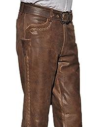 df457715f2 Fuente Bayerische Lederhose mit Gürtel Herren Tracht lang - Damen  Trachtenlederhose lang inklusive Gürtel und…