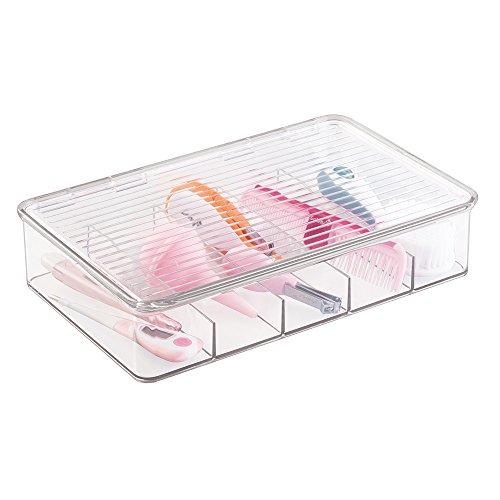 mDesign transparente Aufbewahrungsbox mit Deckel - praktischer Wickel Organizer - Organisationsbox für den Wickeltisch