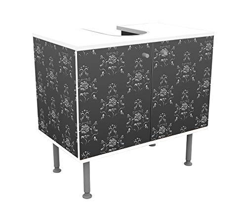 wandmotiv24 Badunterschrank Barock Schwarzgrau Muster Designschrank Bad Unterschränke Front- &...