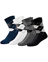 ARKYLE Men's Thick Cotton Full Length Cushion Socks, Pack of 4 (Multicoloured, Free Size)