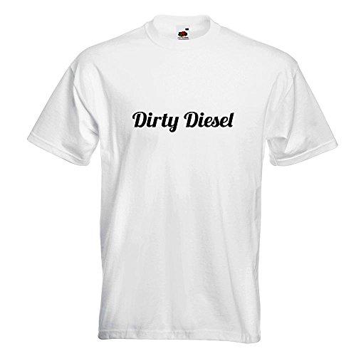 KIWISTAR - Dirty Diesel dreckiger T-Shirt in 15 verschiedenen Farben - Herren Funshirt bedruckt Design Sprüche Spruch Motive Oberteil Baumwolle Print Größe S M L XL XXL Weiß