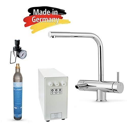 Sprudel aus dem Wasserhahn! Untertisch-Trinkwassersystem - Trinkwassersprudler Sprudel-Lok - NEUHEIT! inkl. 3-Wege-Zusatzarmatur MORA , 425 g CO2 Zylinder und Anschluss-Set. Made in Germany