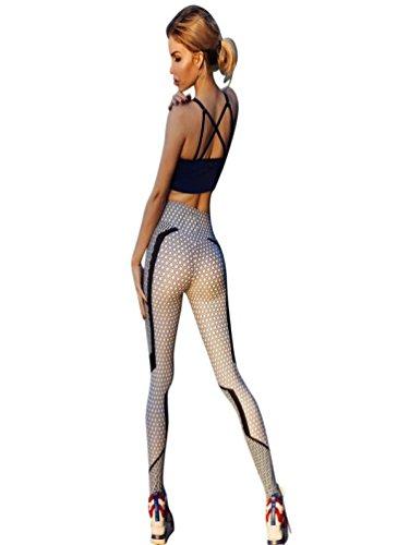 Pantalon de Yoga Femme CIELLTE Imprimé Motif Nid d abeille Fashion Pantalon  Streche Combinaison Vêtements 13d6fc9ec77