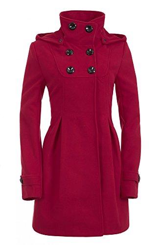 n Mantel mit Kapuze Jacke XS S M L XL XXL, Farbe:Weinrot;Größe:40 ()