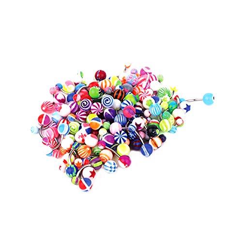 Rrunzfon Belly Barre di Pulsanti Palle Assortiti Tasto di Pancia degli Anelli Anelli di Lingua pratici Bar per Body Piercing Jewelry 50Pcs