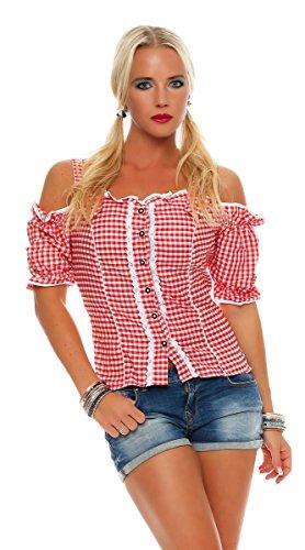 Fashion4Young Dirndlbluse Bluse Trachtenbluse Trachten Oktoberfest Lederhose Trachtenmieder (34, Rot)