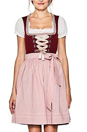 ESPRIT Collection Damen Kleid 077EO1E006, Rot (Bordeaux Red 600), 40