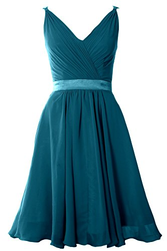 MACloth Women Pleated Chiffon Short Bridesmaid Dress Wedding Cocktail Party Gown Teal