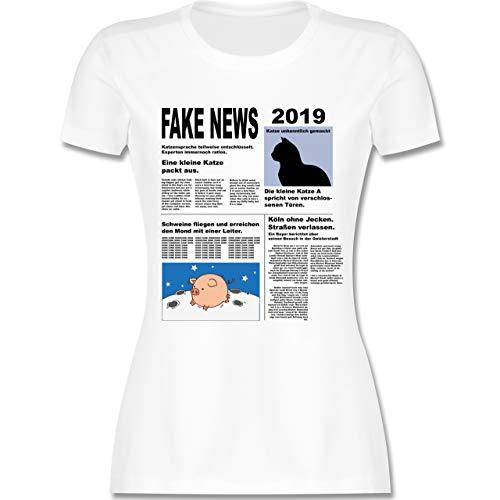 Karneval & Fasching - Fake News 2019 Kostüm Newspaper Zeitung - XXL - Weiß - L191 - Damen Tshirt und Frauen T-Shirt (Zeitung Kostüm)