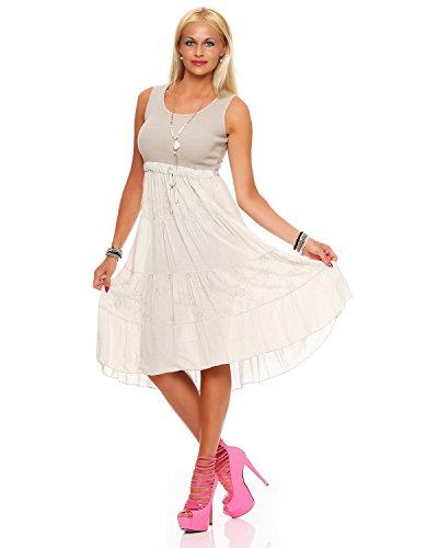 ZARMEXX Damen Sommerkleid Volant langes Empire Kleid knielanges Strandkleid (Einheitsgröße: Gr. 38-42, beige)