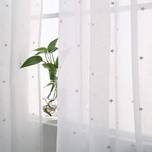Deconovo tende voile ricamate stelle pattern tende trasparenti con occhielli per camera da letto 140x290 cm bianco 2 pannelli