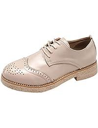 Zapatos de Cuero Retro clásicos de Las Mujeres Cabeza Redonda Sólido Brock Tallado con Cordones Tacón