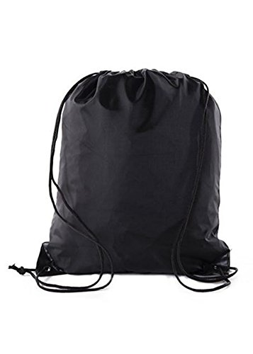 Männer & Frauen Outdoor Sport Gym Sack Drawstring Tote Cinch Sack Rucksack Tasche Schule Reiserucksack 210D Stoff Faltende Schulter Cinch Bag,Black (Drawstring Große Tote)